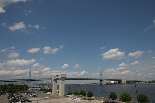 The Benjamin Franklin Bridge over Delaware river...