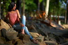 Girl posing near stones (Dimitri Kruglikov) Tags: blue summer sun sexy girl beautiful look stone daylight warm pretty bright vibrant gorgeous handsome posing jeans attractive stunning brunette lovely charming striking seductive winning alluring delightful photogenic curbstone ravishing fetching beguiling irresistible engaging captivating enchanting enticing appealing arresting bewitching desirable tantalizing prepossessing telegenic