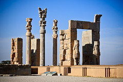 Iran_714_29-12-06 (sgtravelcafe photos) Tags: travel sculpture color colour building heritage tourism motif sunshine horizontal architecture design daylight persian ruins gate colorful asia day pattern iran outdoor middleeast culture vivid sunny persia nobody nopeople palace unesco portal iranian colourful copyspace persepolis takhtejamshid fars traveldestinations parseh prsa achaemeniddynasty frs chehelminar thecityofpersians throneofjamshid ceremonialcapital