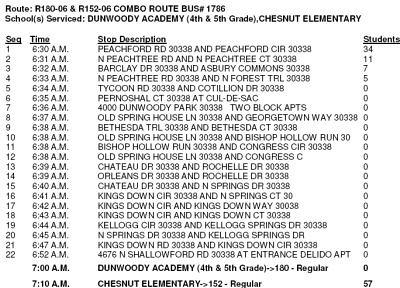 Heneghan's Dunwoody Blog: Dunwoody Academy (4th / 5th) Bus Schedules
