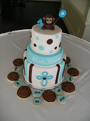 Monkey Baptism/Birthday Cake (irresistibledesserts) Tags: birthday boy cookies cake monkey baptism