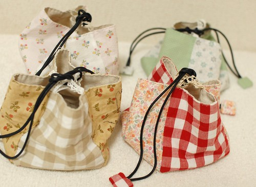 Patchwork cube drawstring bag