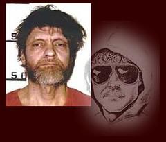 Retrato robot que se hizo de Kaczynski junto a la foto de su ficha policial
