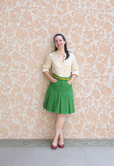 Green Skirt (Elsita (Elsa Mora)) Tags: blue portrait orange inspiration selfportrait color art smile fashion photoshop self hair happy outfit nice shoes artist personal top sandals background inspired remix seed style skirt blouse hidden blogged wardrobe elsa mora selfexpression elsita