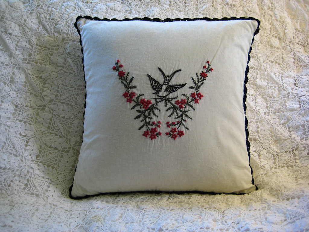 Victorian Bird on branches embroidered Pillow