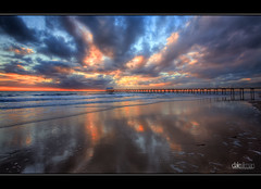 Henley Beach Reflections (Dale Allman) Tags: ocean sky seascape reflection beach nature water clouds canon sand surf waves jetty australia wideangle adelaide southaustralia hdr highdynamicran