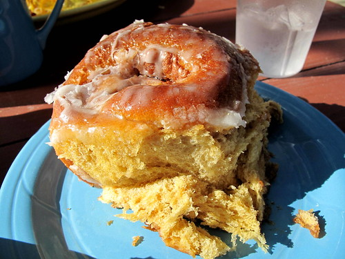 Cinnamon Roll at We Three Bakery in Three Rivers