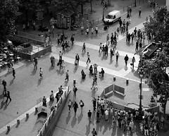 Paris People (ubac) Tags: above city urban blackandwhite bw holiday paris france streets monochrome corner crowd aerial tourists junction spy pedestrians crossroad overhead placegeorgespompidou