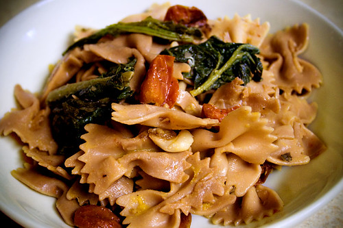 Farfalle with Roasted Rapini, Tomatoes & Garlic