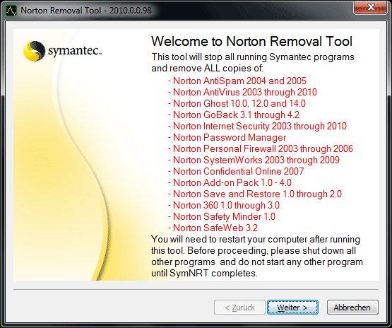 Schritt 1: Welcome to Norten Removal Tools: Startbildschirm