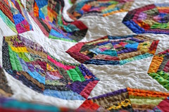 spider web quilt (the little red hen -) Tags: colorful mine spiderweb finished scraps patchwork liberated freepiecing websquiltedwithwebdesign backgroundquiltedwithvines eventhebindingisscraps notgivingthisaway newcouchquilt