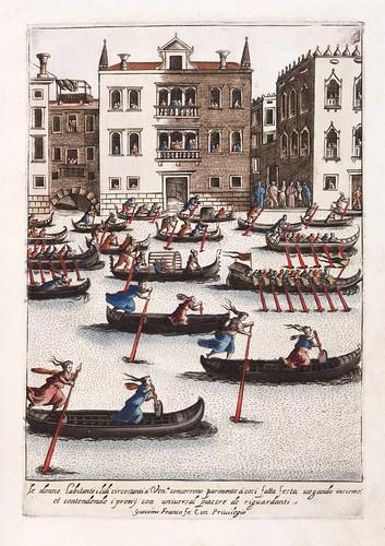 023-Carrera de mujereres en gondola-Habiti d'hvomeni et donne venetiane 1609