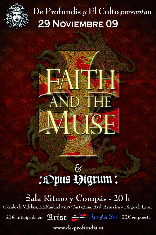 FAITH AND THE MUSE + OPUS NIGRUM EN NOVIEMBRE EN MADRID, YA FALTA MENOS