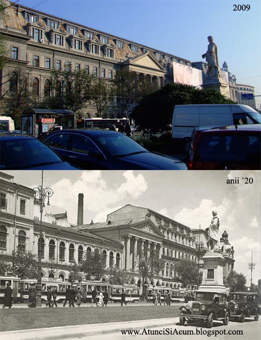 Bucuresti - Universitatea si Statuia lui Gheorghe Lazar