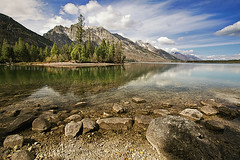 (scifitographer) Tags: park autumn sky lake mountains fall beach nature canon nationalpark october rocks grand national wyoming grandtetons aspen tetons 2009 jacksonhole wy grandtetonsnationalpark canon1740mml bethanthony 5dmkii lifetnc10 retroreflectography