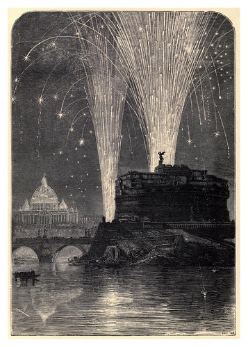 008-Iluminacion de San Pedro y fuegos artificiales en el castillo de San Angelo-Italian pictures drawn with pen and pencil 1878