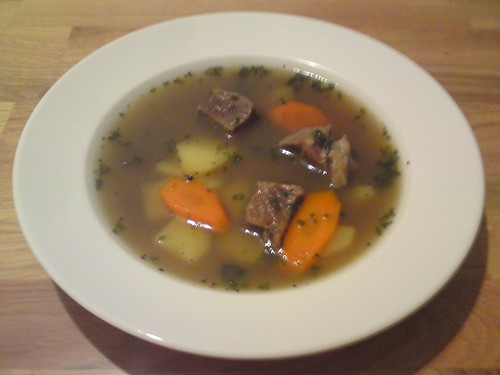 Beef soup with veggies