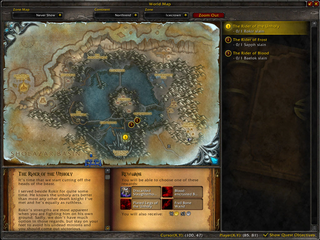 the new map interface w/ quest tracking turned on
