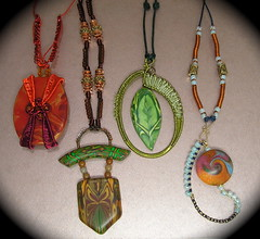 Polymer Clay & Colored Wire Necklaces (auntgriz) Tags: wovenwire polymerclayjewelry mixedmediajewelry coloredwirejewelry knightworkstudio