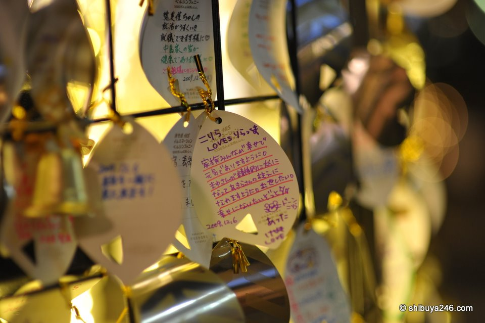 People were leaving christmas messages on a tree outside the main Omotesando Hills complex.