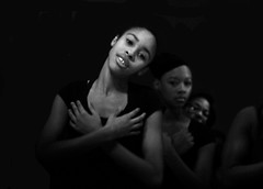 High School Dancer in Movement with Arms Crossed (gll) Tags: school girls blackandwhite bw woman white black girl smile lady dance big high women dancers arms dancing young dancer africanamerican crossed
