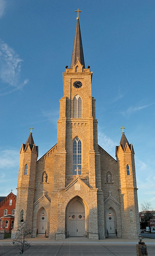 Saint Dominic Roman Catholic Church, in Breese, Illinois, USA - exterior front