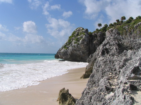 Beach at Tulum ruins looking south