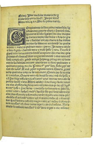 Incipit and woodcut initial in Isaac Medicus: De particularibus diaetis