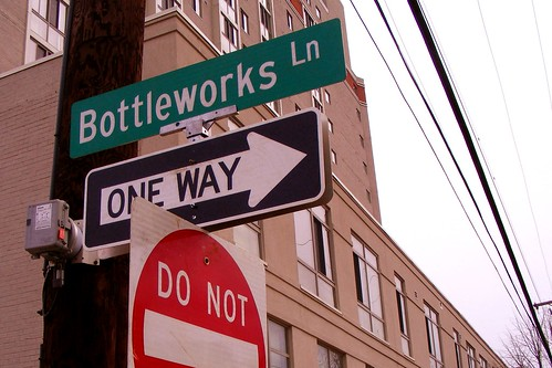Bottleworks Lane Sign