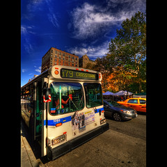 (hans jesus wurst) Tags: nyc newyorkcity blue autumn usa distortion bus fall yellow photoshop centralpark manhattan yellowcab upperwestside hdr highdynamicrange hdri lucisart photomatix tonemapping pseudohdr nikcolorefexpro canoneos400d tonalcontrast sigma1020mm1456dchsm hansjesuswurst moritzhaase 179crosstown