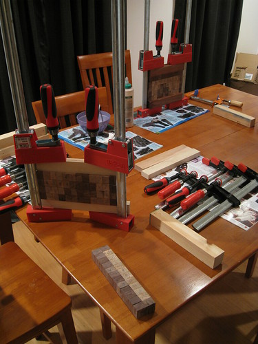 strips of glued-up blocks being glued together