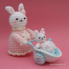 Mommy Bunny with Baby Bunny in Baby Carriage Crochet Pattern (HandmadeKitty=^_^=) Tags: baby rabbit bunny toy doll pattern carriage crochet pdf mummy amigurumi pram rattle