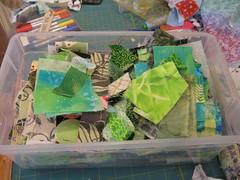 sorting green scraps