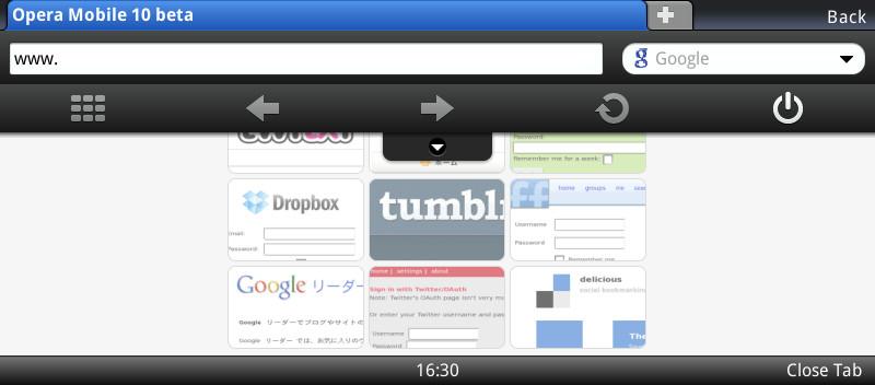 Screenshot E90  Opera Mobile 10 beta