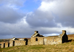 A Croft Ruin Climbing A Hill Near Houton (orquil) Tags: old croft ruin roofless veryold farm buildings abandoned derelict three separate levels missing windows doors hill climbing ascending interesting attractive adjacent a964 mainroad nearclowally west houton rural field farmland hillside nice bright sky puffy clouds cloudscape sunny afternoon february winter sunshine westmainland orkney islands scotland uk unitedkingdom greatbritain orcades colourful scenic unusual historic eyecatching