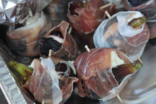 Prosciutto-wrapped figs, stuffed with goat cheese.