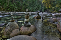 Rock Stacking in Lynn Creek (janusz l) Tags: bridge rock vancouver creek river geotagged suspension north canyon lynn valley balancing hdr rockstacking janusz leszczynski manmadesurprise geo:lat=49344205 geo:lon=123019628 001853