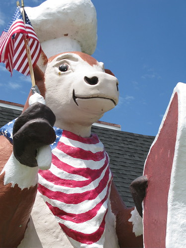 Patriotic cow with steak