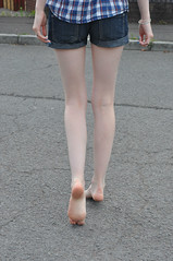 Crossing the Street (Artistic Feet) Tags: blue woman black cute feet stockings girl yellow socks female fun outside outdoors toes long pretty legs skin artistic outdoor bare gorgeous emo goth smooth arches pale barefoot kawaii heels expressive stripey soles striped ankles