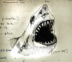 shark (galendara) Tags: ink shark sketch journal drawings sketchbook study damienhirst sharkattack terrytempestwilliams