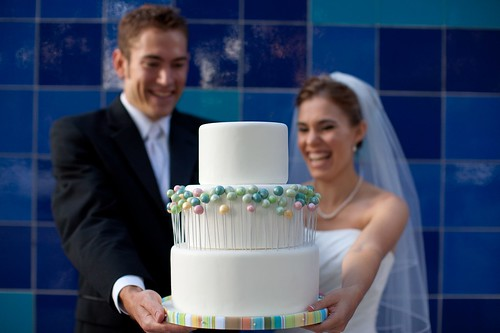 Spring Wedding Cake with Bride & Groom