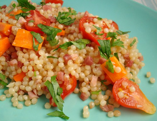 Israeli Couscous with Carrots and Tomatoes