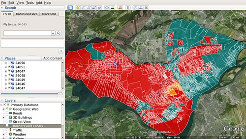 Google Earth - Results per poll on Island of Montreal