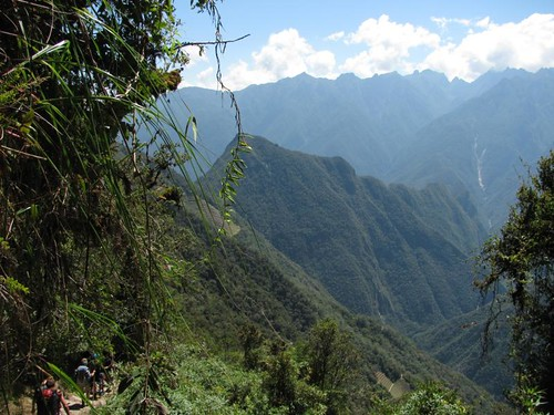 view of Machu Picchu mtn from the jungle on the descent to camp