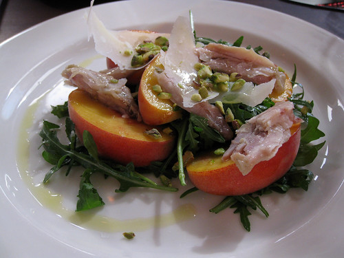 Yellow Peach and Rabbit Confit Salad