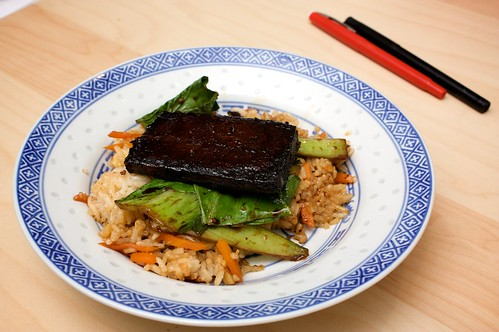 (not that)sticky tofu with rice and bok choy