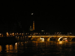 new moon in parisian sky (ÇaD) Tags: city bridge paris france architecture night turkey chad türkiye eiffeltower newmoon crescentmoon cagdas ozturk deger cagdasdeger