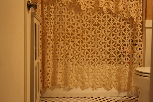 tablecloth turned shower curtain