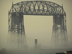 Duluth bridge and fog (jkeenan501) Tags: morning bridge minnesota fog lift steel bridges aerial duluth industial morningfog duluthminnesota inminnesota ofminnesota