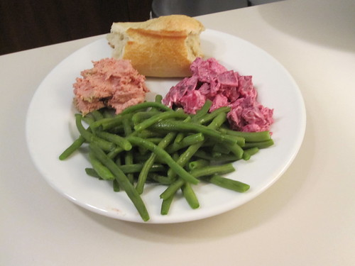 Homemade chicken liver mousse, baguette, beet salad, green beans